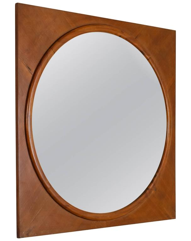 Large Round Wall Mirror In Square Walnut Frame Italy 1940s For