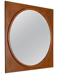 Large Round Wall Mirror in Square Walnut Frame, Italy, 1940s