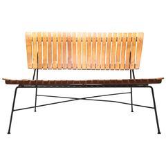 Arthur Umanoff 1950s iron frame rustic style mid-century slatted bench.