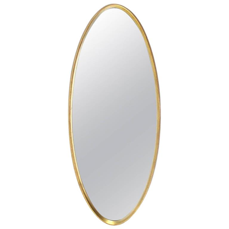 Mid Century Modern Gold Giltwood Oval Mirror