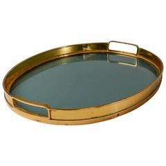Tray with Brass Rim and Glass Bottom, Italy, 1950s
