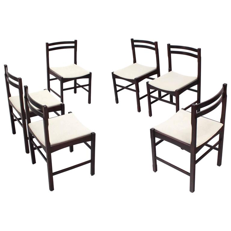 Six Mid Century Danish Modern Rosewood Dining Chairs New Upholstery