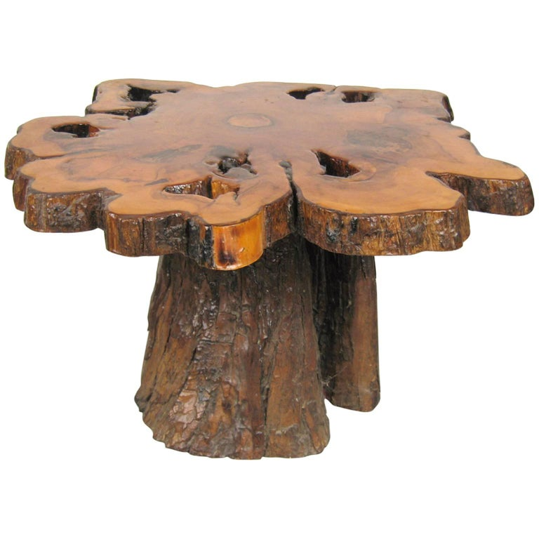 Mid Century Modern Tree Slab Coffee Table For Sale At 1stdibs: Natural Form Tree Slab-Top And Stump Coffee Table For Sale