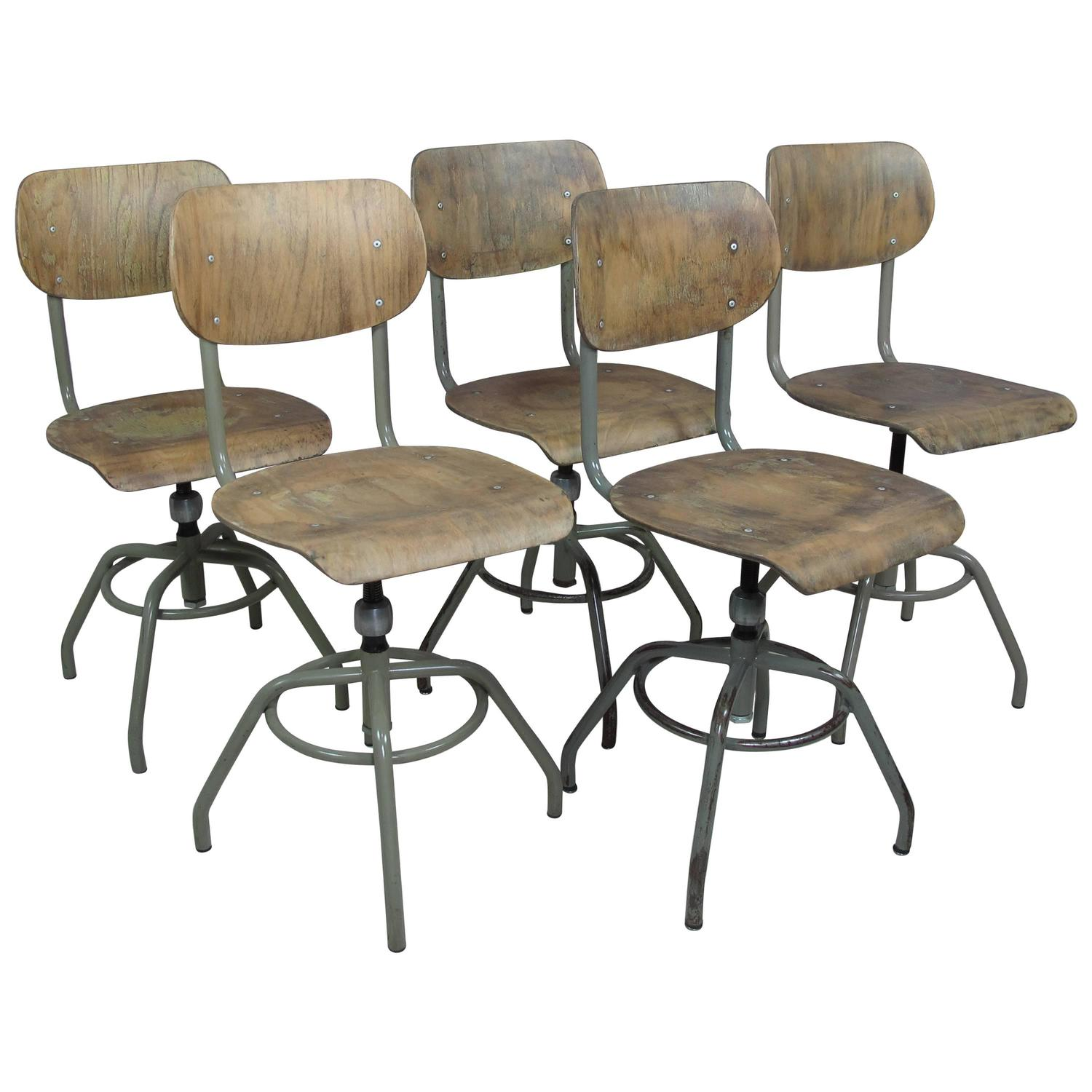 Unique Industrial Pivot Stools By Tubax Set Of Four At