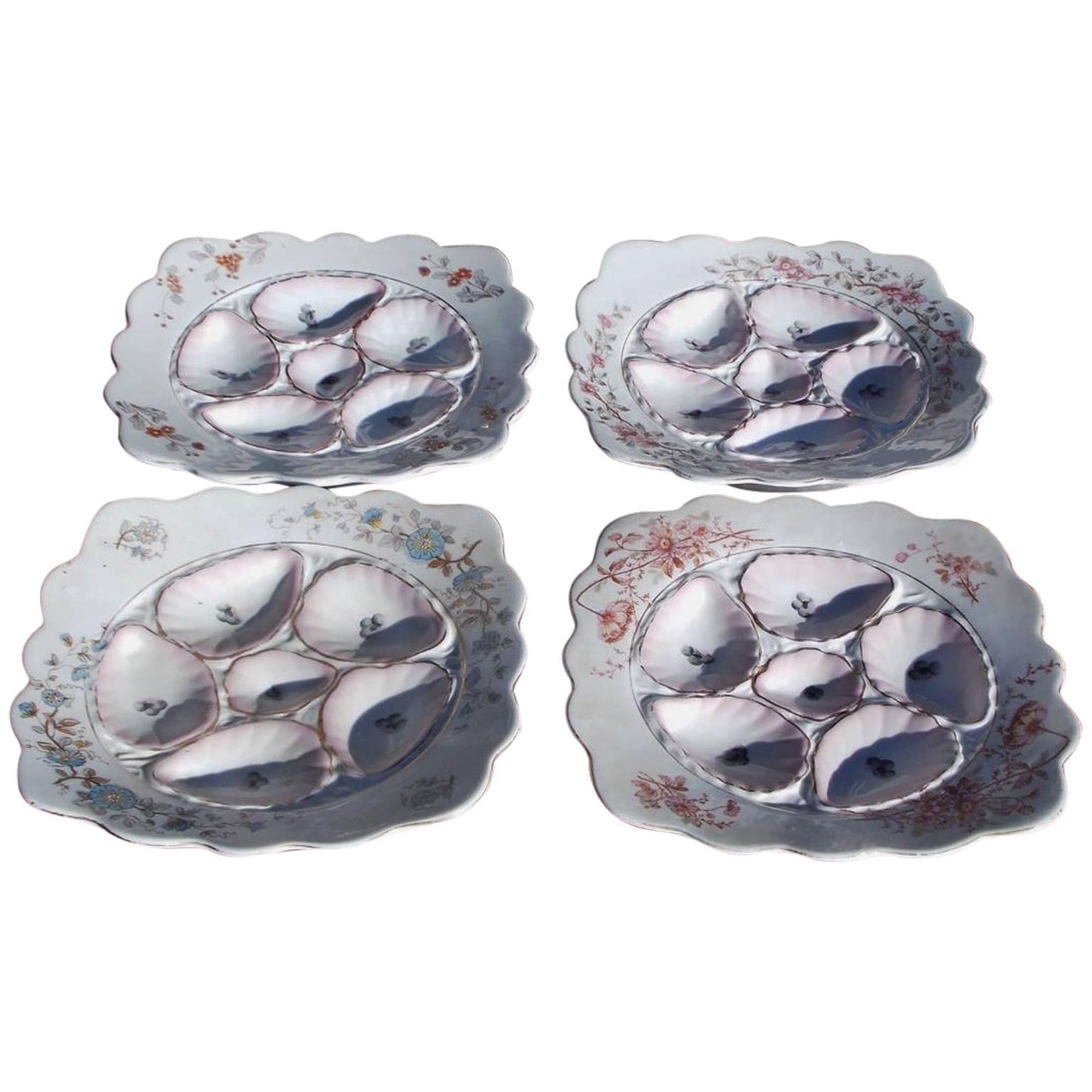 Set of Four Austria Porcelain Oyster Plates, Marx Gutherz, Carlsbad, Circa 1900