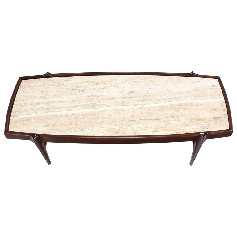 Mid Century Modern Walnut Travertine Coffee Table