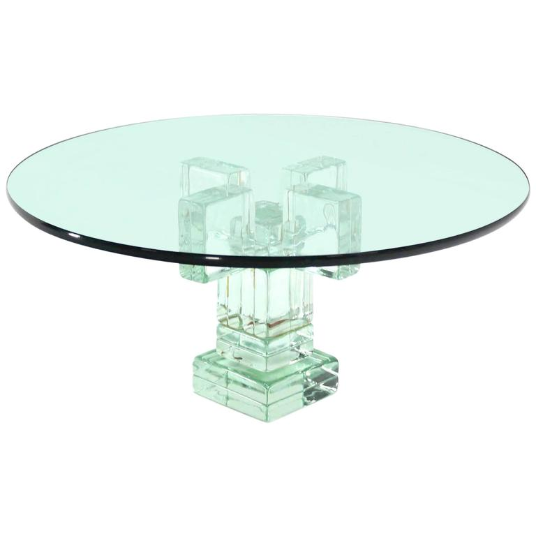 Ordinaire Iridescent Glass Block Base Round Coffee Table For Sale