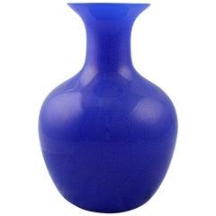 Large Vetri Murano Salviati & Co. Blue Italian Glass Vase
