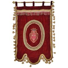 Italian Embroidered Crimson Silk Velvet Banner