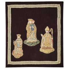 19th Century Silk Velvet Panel with Religious Figures
