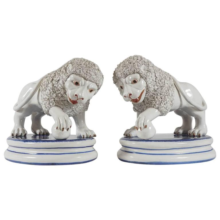 Monumental Pair of Italian Pottery Medici Lion Figures