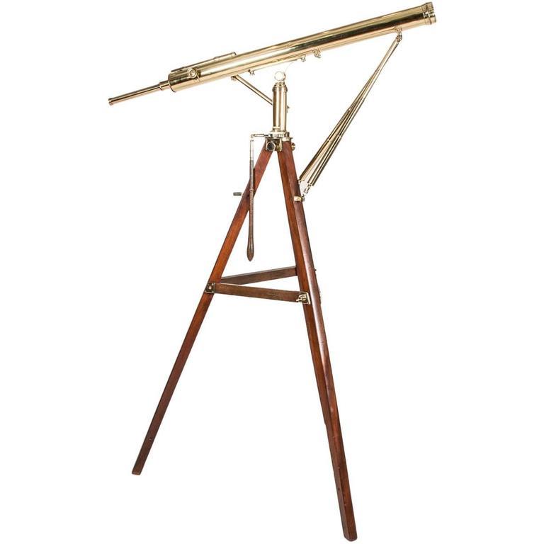 "A fine quality 3"" Victorian brass telescope on a mahogany tripod, circa 1870."