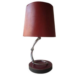 French Mid-Century Modern Neoclassical Leather Desk or Table Lamp by Hermès