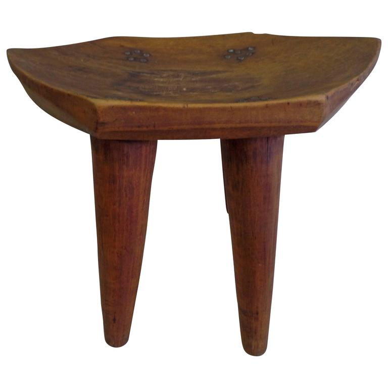 French 1930s Hand-Carved Modern Craftsman Stool 1