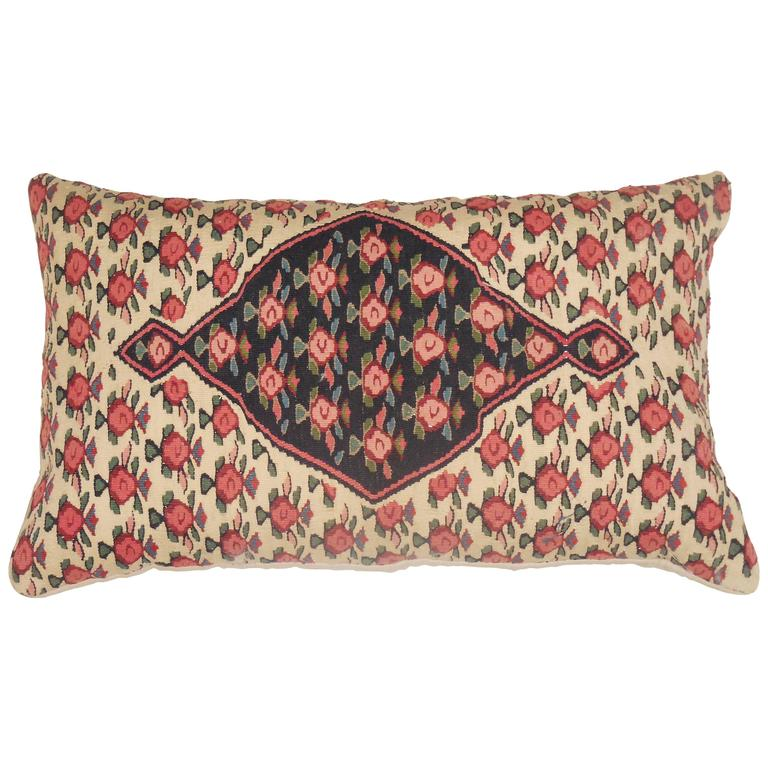Large Flat-Weave Persian Rug Fragment Pillow For Sale