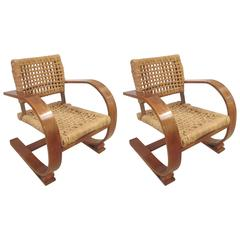 Pair of Audoux Minet French Mid-Century Rope Chairs