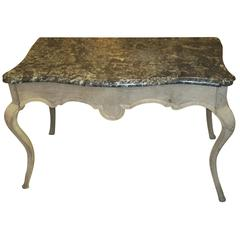 Whimsical  Louis XV-Style Marble-Top Painted Table on Sabre Legs