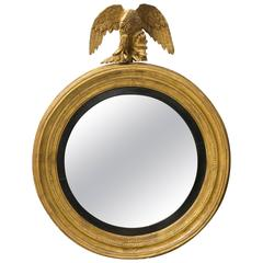 American Convex Mirror in Gilded Wood, Early 19th Century