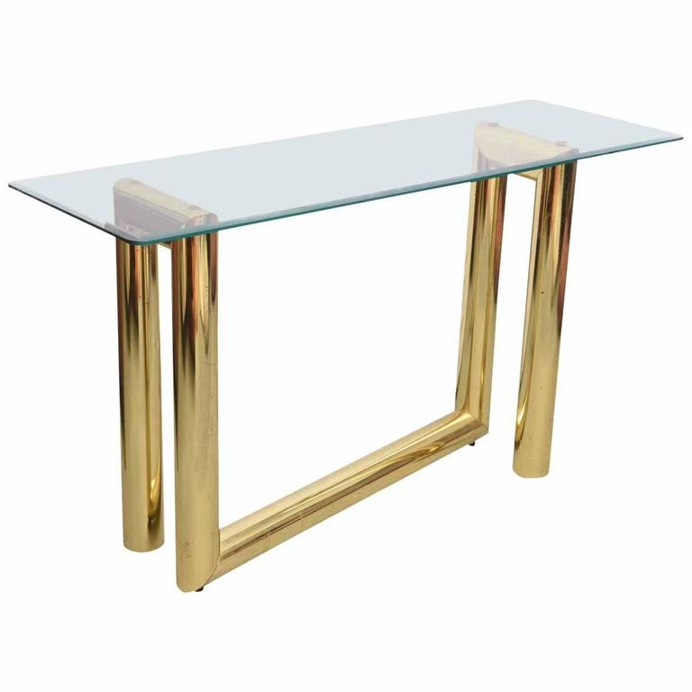 Abstract Brass Karl Springer Console Table, 1970s, USA