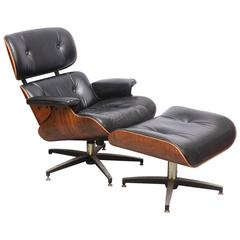 Late 1960s Eames Style Chair in Rosewood and Leather, USA
