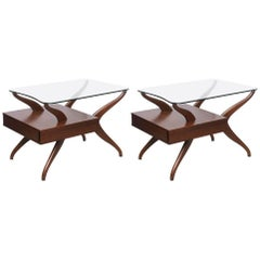 Pair of End Tables in Glass and Walnut, 1950s, USA