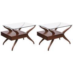 Pair of Kagan End Tables in Glass and Walnut, 1950s, USA