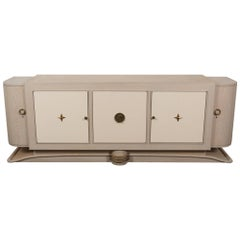 French Cerused Oak Sideboard with Custom Leather Panels