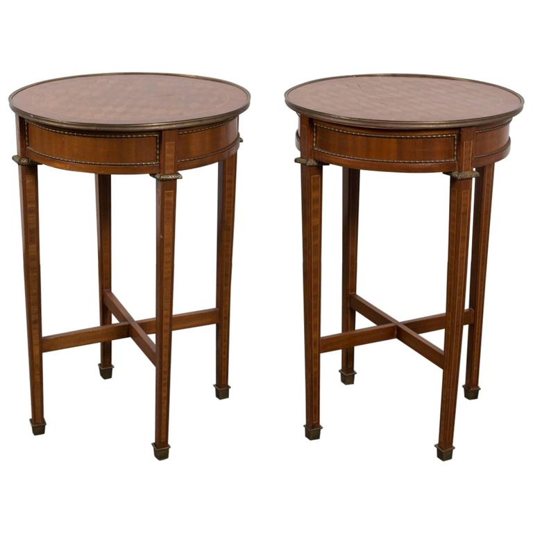 Pair of Round Marquetry Gueridons 1