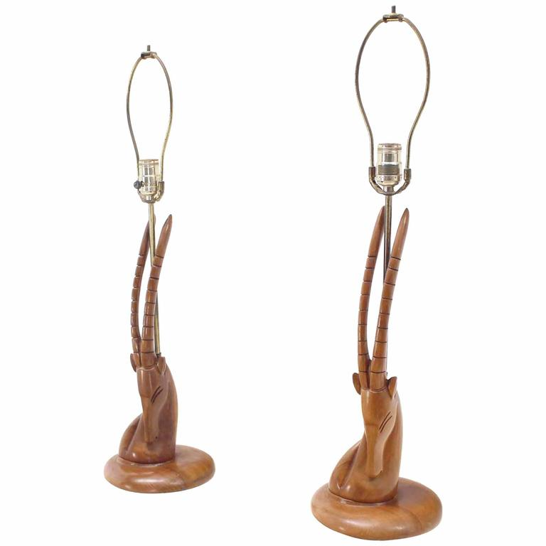 pair of sculptural carved wood gazelle motive walnut table lamps for sale at 1stdibs. Black Bedroom Furniture Sets. Home Design Ideas
