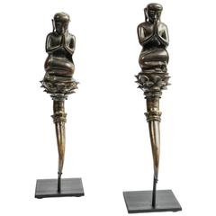 Pair of Early 20th Century Burmese Bronze Monks