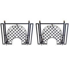 Two French Mid-Century Wrought Iron Fire Screens Attributed to Gilbert Poillerat