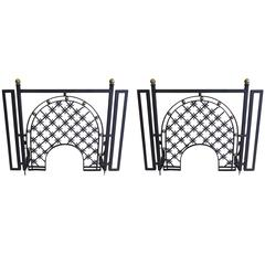 Two French 1940s with Wrought Iron Fire Screens Attributed to Gilbert Poillerat