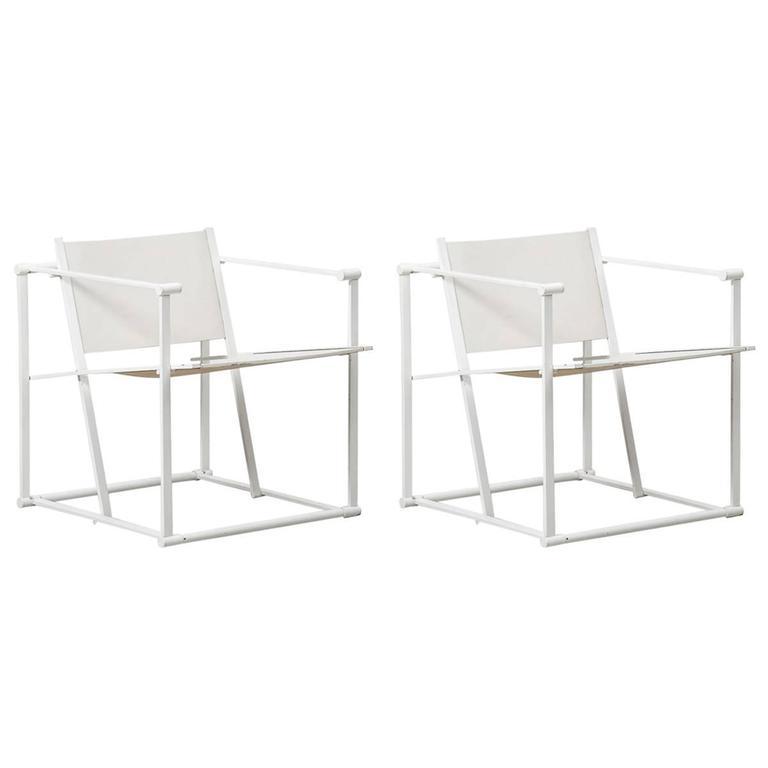 Radboud Van Beekum White FM61 Cube Chairs for Pastoe, Netherlands, 1982 For Sale