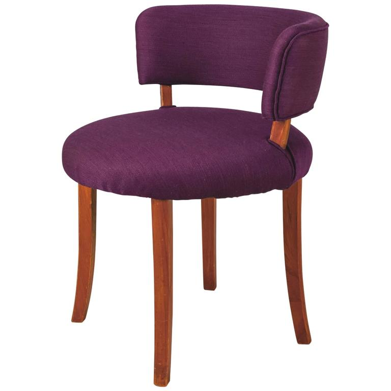danish teak and purple wool side chair with curved backrest 1940s for