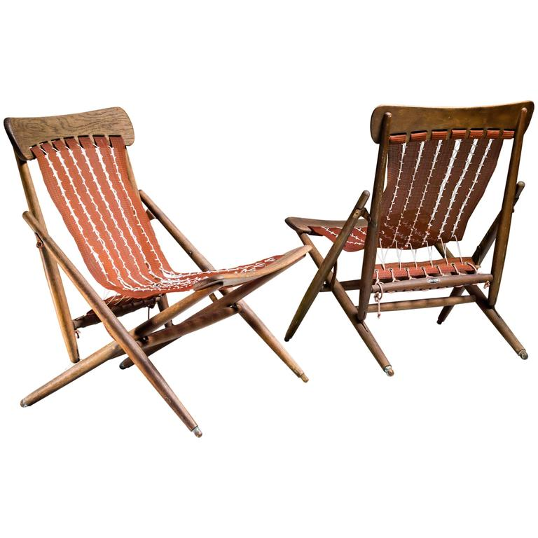 Charmant Maruni Studio Foldable Lounge Chairs, Japan, 1940s For Sale