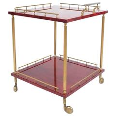 Large Aldo Tura Bar Cart or Side Table, circa 1960