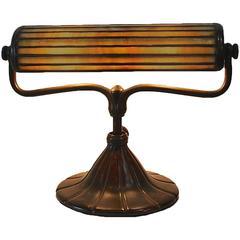 Rare Tiffany Studios Bronze and Leaded Glass Desk Lamp
