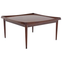 Square Rolled Solid Teak Edge Danish Modern Teak Coffee Table