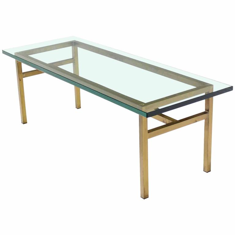 Soldered Square Solid Brass Bar Rectangular Coffee Table