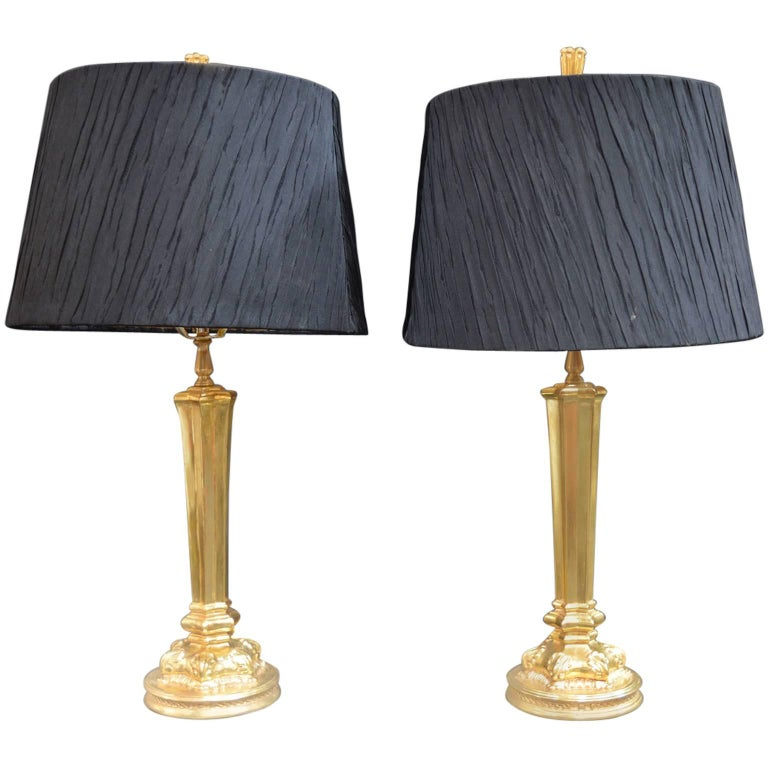 Pair of Gold Leaf Bryan Cox Lamps For Sale