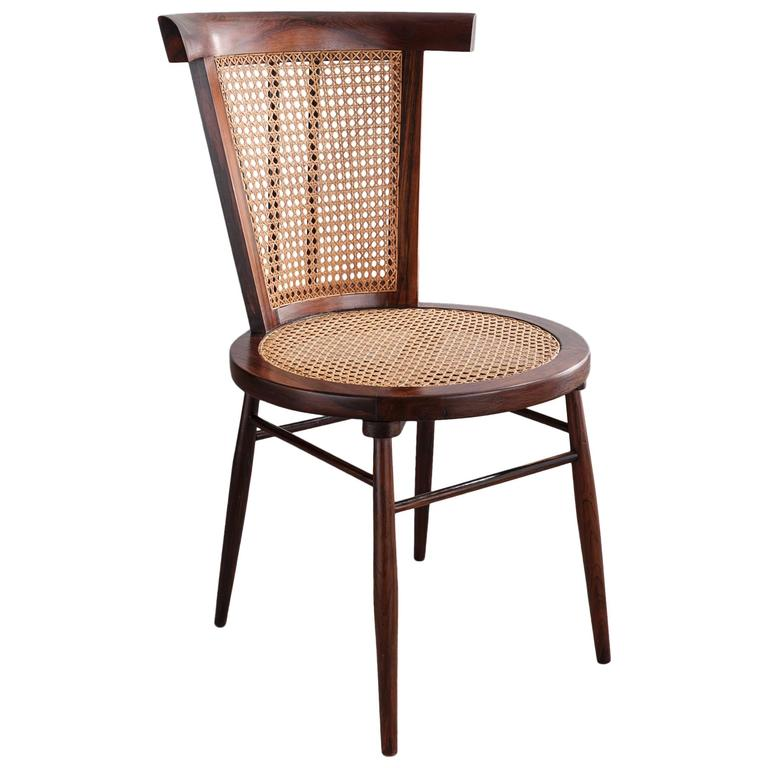 """""""Small Chair"""" in Jacaranda with Curved Cane Back by Joaquim Tenreiro, 1960 For Sale"""