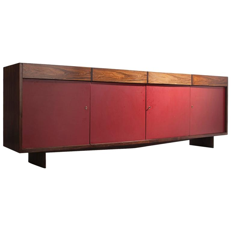Four-Door Credenza in Jacaranda with Red Formica Front by Joaquim Tenreiro, 1948 For Sale