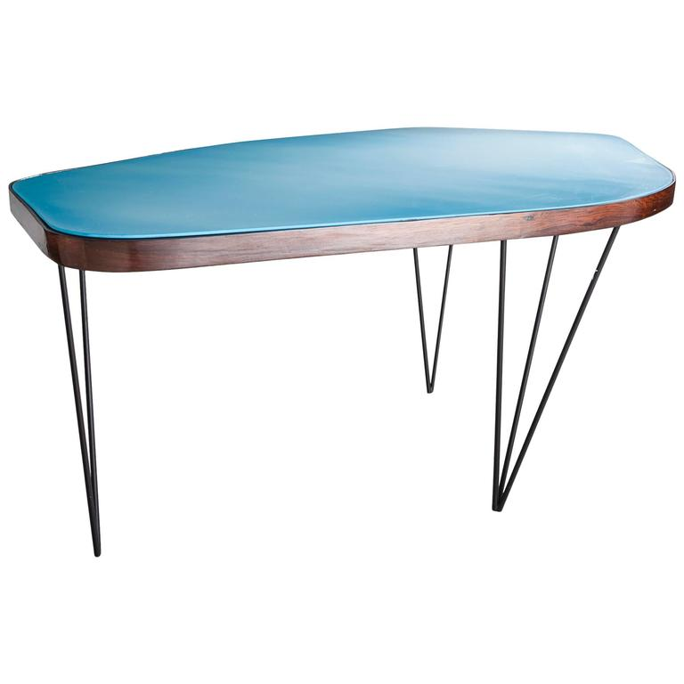 Organic Dining Table with Blue Underpainted Glass Top by