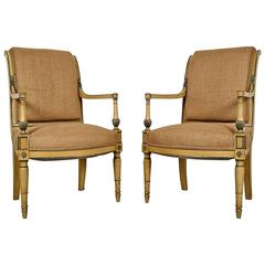 Pair of 19th Century French Empire-style Arm Chairs