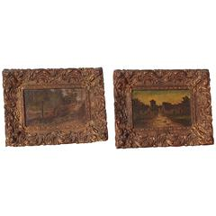 Pair of Small Framed Antique Oil Paintings from France