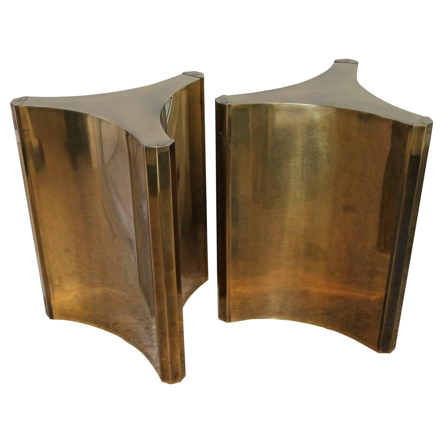 Pair of vintage mastercraft brass dining table desk bases for Dining room table pedestal bases