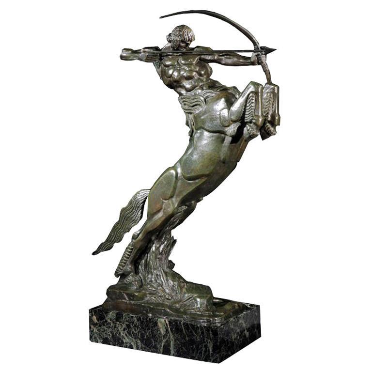 'Centaur' Art Deco Bronze by Francois Bazin, 1924 For Sale