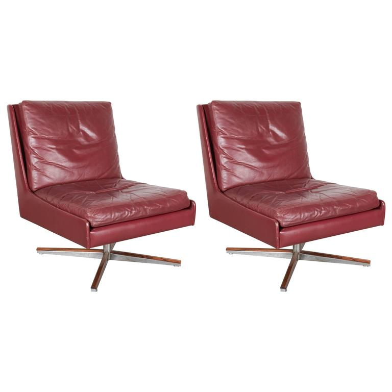 Leather Slipper Chairs on Swivel Base Pair For Sale at