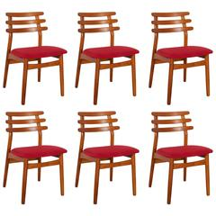 Poul Volther #J48 FDB Oak Dining Chairs, Set of Six, Red