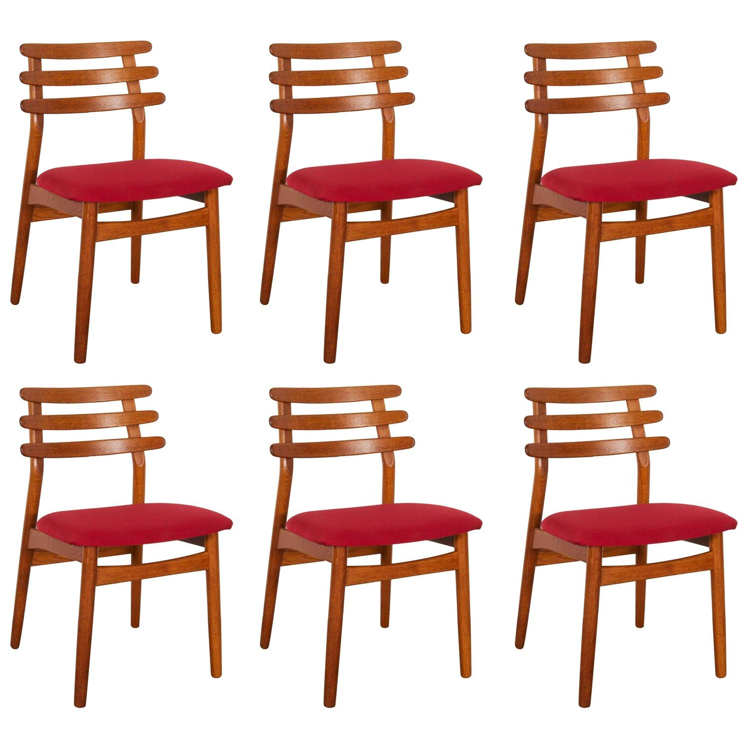 poul volther j48 fdb oak dining chairs set of six red